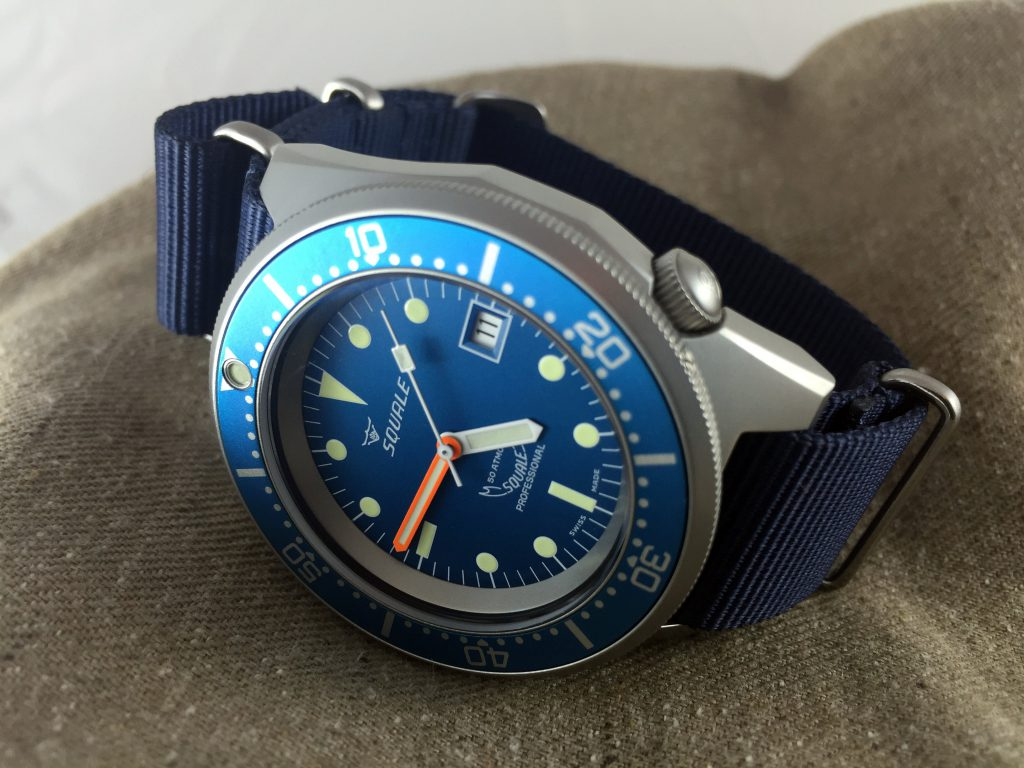 Squale 50 Atmos Blue on Navy NATO
