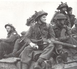 British Troops on Sherman Tank