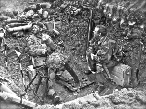 British Troops with 3 inch Mortar