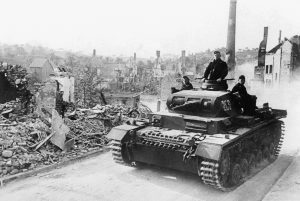 A German armored tank crosses the Aisne River in France, on June 21, 1940, one day before the surrender of France. (AP Photo)