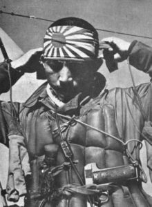 Japanese Kamikaze pilot preparing for his last flight