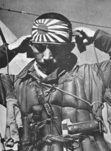 Japanese Kamikaze pilot preparing for his last flight