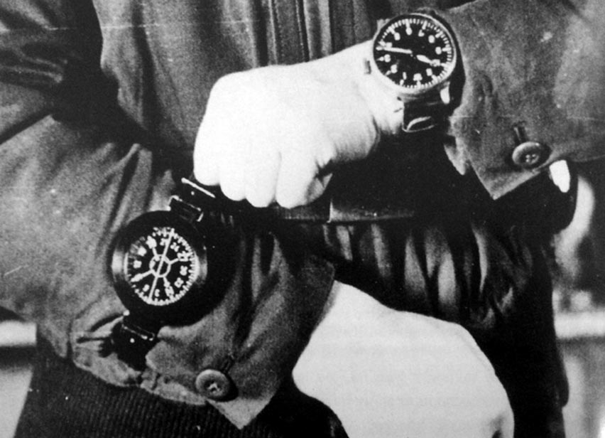 SS Troops Wearing B-Uhr and Compass over flight jacket