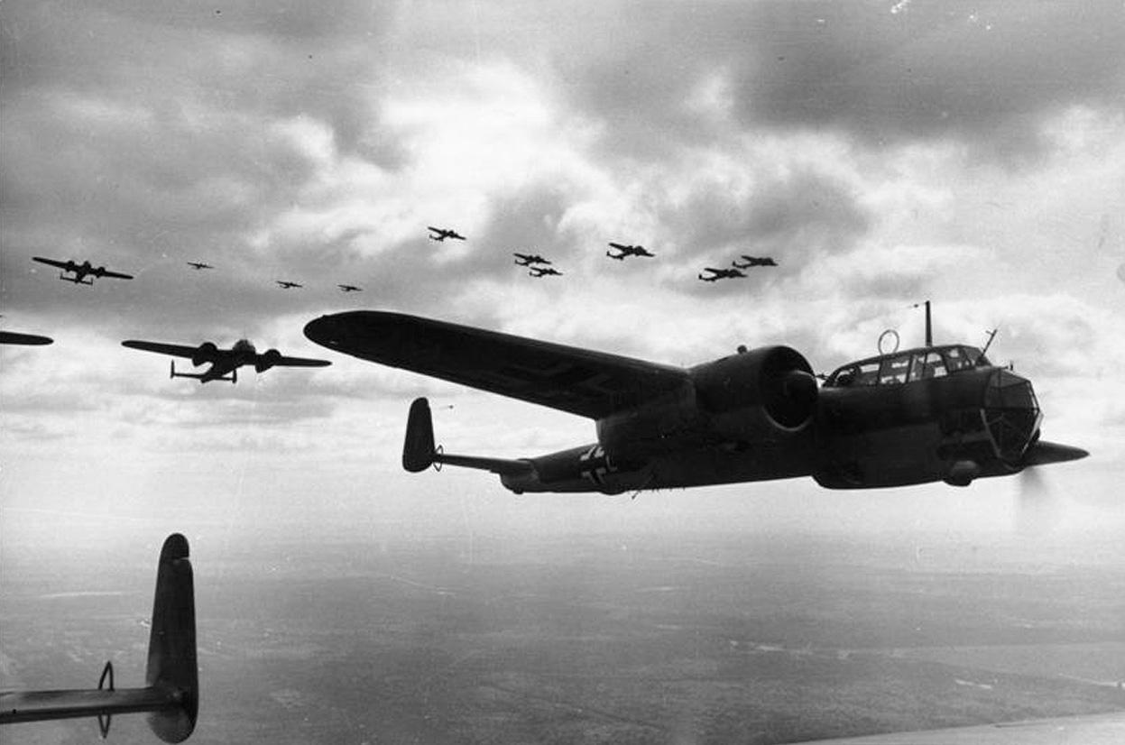 A formation of German Dornier Do 17Z light bombers, flying over France on June 21, 1940. (Deutsches Bundesarchiv/German Federal Archive)
